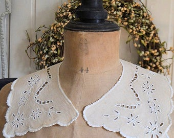 French antique linen, antique linen collar, 1900S