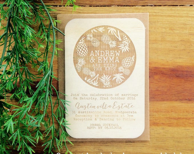 Wood wedding invitation - Timber wedding invitation - Tropical Beach Design - Pack of 10