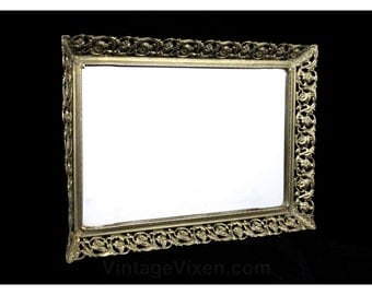Antique Inspired Mirror Tray with Ornate Metal Frame - 1950s 60s Goldtone Brassy Filigree Style Detail - Footed Display Organizer - R2101