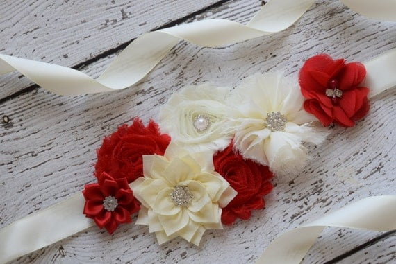 Sash, red and ivory Sash,  flower Belt, maternity sash