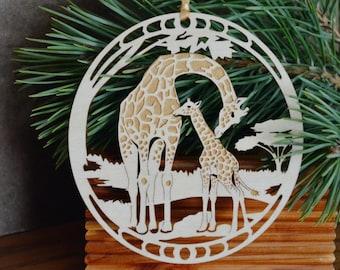 Wood Giraffe and giraffe calf ornament woodcut Giraffes decoration