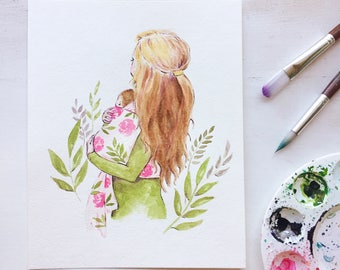 Motherhood art - mom and baby watercolor - mother with child art - baby watercolor