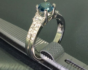18k white gold natural Round Blue Diamond engagement solitaire wedding ring 1.25