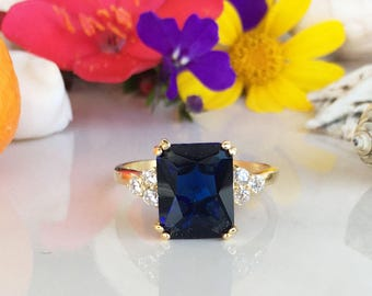 20% off- SALE!! Blue Sapphire Ring - September Birthstone - Statement Ring - Gold Ring - Engagement Ring - Rectangle Ring - Cocktail Ring