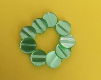 Vintage Plastic Buttons Lot of 9 - Self Shanked Shimmering Green
