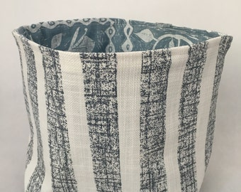 Blue Striped Fabric Bucket