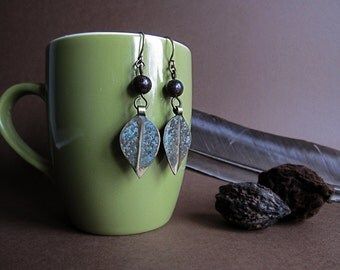 Tribal brass and mahogany obsidian earrings - Return to the Root. Amulet for Scorpio, Sagittarius.