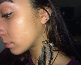 tear drop hoops with feathers