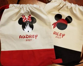 Mickey Disney Inspired Autograph Cinch Totes Backpack Great for Getting Character Signatures in Disney and Carry their Souvenirs Custom Name
