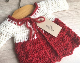 Organic Baby Girls Christmas Crochet Cardigan. Special Occasion. MADE TO ORDER