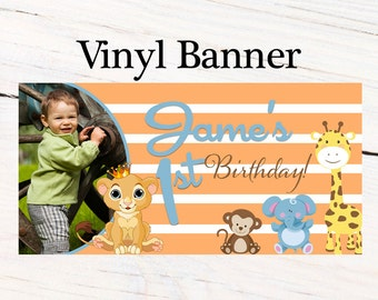 Jungle Friends Birthday Banner ~ Personalized First Birthday Boy Banners -Baby Shower Banner - Custom Banners