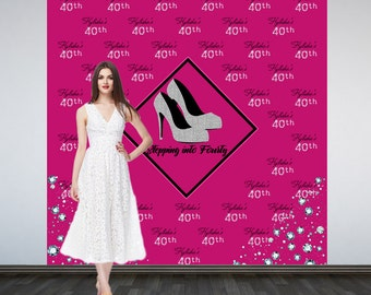 Photo Backdrop Stepping into 40, Step and Repeat Personalized Photo Backdrop- Birthday Party Vinyl Photo Booth Backdrop- Silver Heels