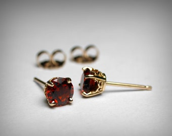 Garnet Earrings, 14K Genuine AAA Garnet Stud Earrings, 14K Yellow Gold 14K White Gold Studs, Garnet Jewelry January Birthstone Stud Earrings