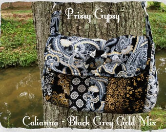 Calianna Quilted Bag - Cross Body in Black Silver Gold Grey White
