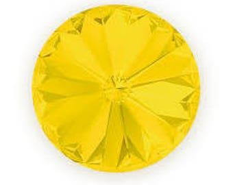 SWAROVSKI 1122 14mm Rivoli - Yellow Opal