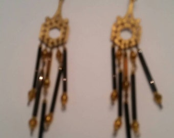 Vintage Gold Earrings Persian Inspired Dangle Gold Black Chandelier Costume Jewelry Gift
