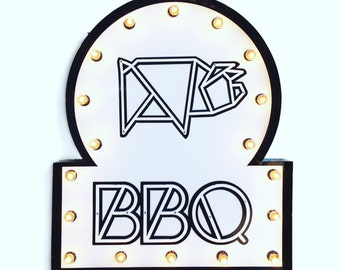Modern BBQ Marquee Sign