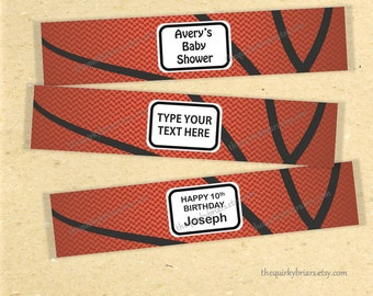 Basketball Theme Water Bottle Labels / Basketball Party Labels / Sports Theme Party Decors / Editable Printable PDF / Instant Download