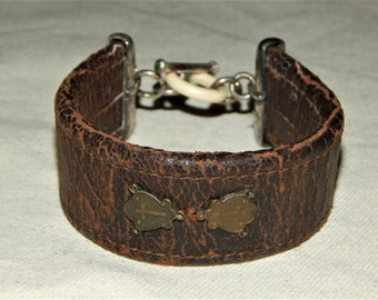 Vintage Leather and Sterling Silver Cuff Bracelet with Emeralds, Religious Icon