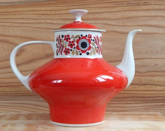 Vintage Red White Golden Porcelain Coffee pot Made in GDR FREIBERGER Porcelain Coffee pot
