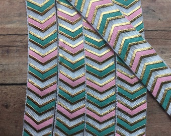 Pink FOE/Chevron FOE/Hair Tie Elastic/Skinny Elastic/Teal FOE/Printed Elastic/Foldover Elastic/Elastic By Yard/Metallic Foldover Elastic