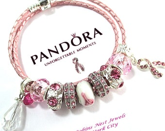 Awareness Pandora Bracelet, Leather Bracelet, Light Pink Leather,Genuine Pandora ,with Non Branded Beads/Charms PHope