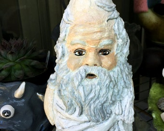 Sokrates figure, solid garden gnome, inspired by Greek philosopher , 11 inches, concrete figure, Plato