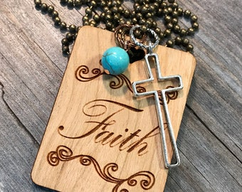 Faith Necklace, Group Gift Ideas, Group Discounts, Wedding Gifts, Laser Engraved, Customized Jewelry, Bursting Barns Laser Engraving
