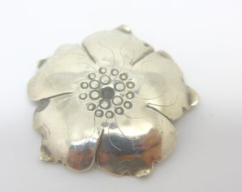 Vintage Sterling Silver Flower Brooch Pin