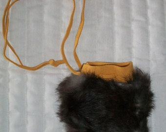 Handcrafted Genuine Rabbit fur coin bag medium sized