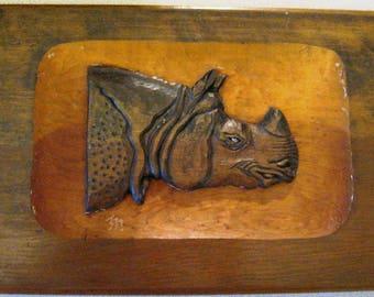 Wood wall (25% off) decor hand Carved Rhinos