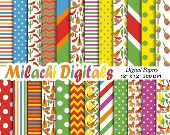 60% OFF SALE Cinco de Mayo digital paper, fiesta scrapbook papers, Mexican wallpaper, donkey background - M387
