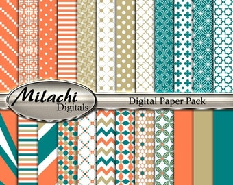 60% OFF SALE Coral Ecru Teal Digital Paper Pack, Scrapbook Papers, Commercial Use - Instant Download - M223