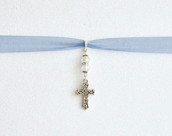 Christian cross bouquet charm. Add a personal touch of faith on your special day!