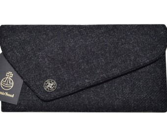 Harris Tweed Charcoal Grey Asymmetric Clutch Bag with Decorative Button