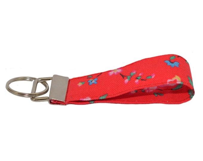 Cath Kidston Bramley Sprig Handmade Fabric Keyring On Chunky Metal Key Fob