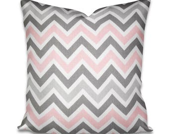 Pillow Cover Premier Prints Zoom Zoom Bella Pink - Pink pillow - Pink and white - Baby's room - Girls room - Baby decor - Chevron pillow