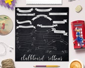 Ribbons Clip Art, Chalkboard Ribbons Clipart, Chalkboard Banners Clip Art, Doodled Ribbons, 20 PNG Images, Coupon Code: BUY5FOR8
