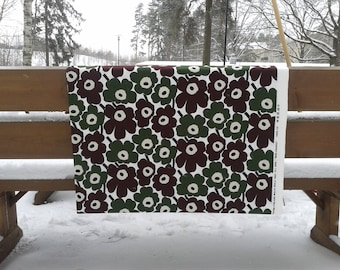 Destash Marimekko fabric mini Unikko in green and brown, new unused cotton designer fabric, poppy flower floral, Scandinavian design