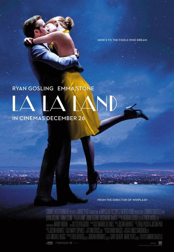"La La Land 2016 Musical Movie Emma Stone Ryan Gosling Poster, La La Land Print, Emma Stone Poster, Movie Art, Size 13x20"" 24x36"" 32x48"" #7"