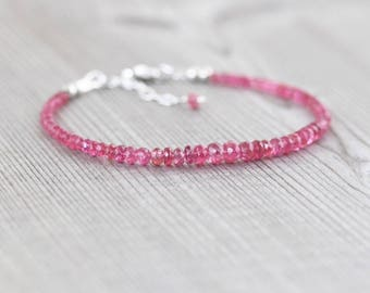 Pink Spinel Dainty Beaded Bracelet. Delicate Gemstone Stacking Bracelet in Sterling Silver or Gold Filled. Thin Skinny Bracelet. Jewellery