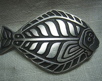 Vintage A.C.E. Pewter Enamel Fish Brooch
