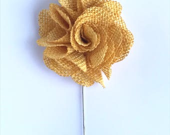 Mustard Yellow hand crafted flower lapel pin made with light burlap fabric.
