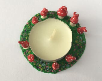 Fairy Ring, Tea Light Holder, Polymer Clay Candle Holder, Home decor