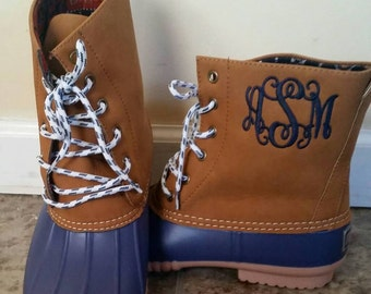 Monogrammed Navy Duck Boots, Navy Duck Booties, Personalized Duck Boots, Size 9  only