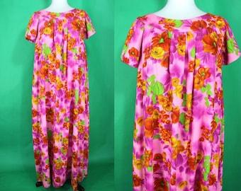Hawaiian Dress.......60's Pink Floral Print Maxi Hawaiian Dress Muumuu Luau Dress