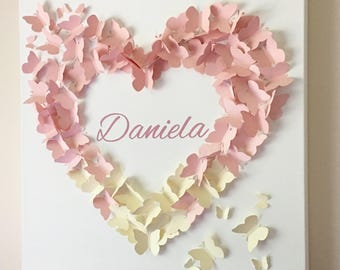 """Personalized Butterfly Wall Art - 20""""x20"""" Blush Pink and Creme Ombre Butterfly Wall Art - Nursery Art - Nursery Decor - Baby Shower Gift"""