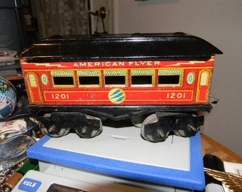 Antique American Flyer Train Passenger Car from 1920's Model 1201 O Guage See Pics