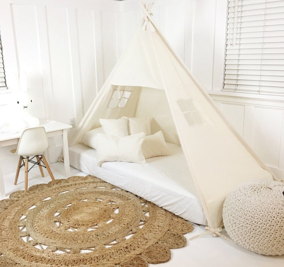 Play Tent Canopy Bed in Natural Canvas