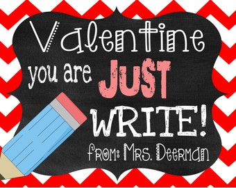Just Right Valentine- Classroom Valentine- Teacher Valentine- Student Valentine- Pencil Valentine